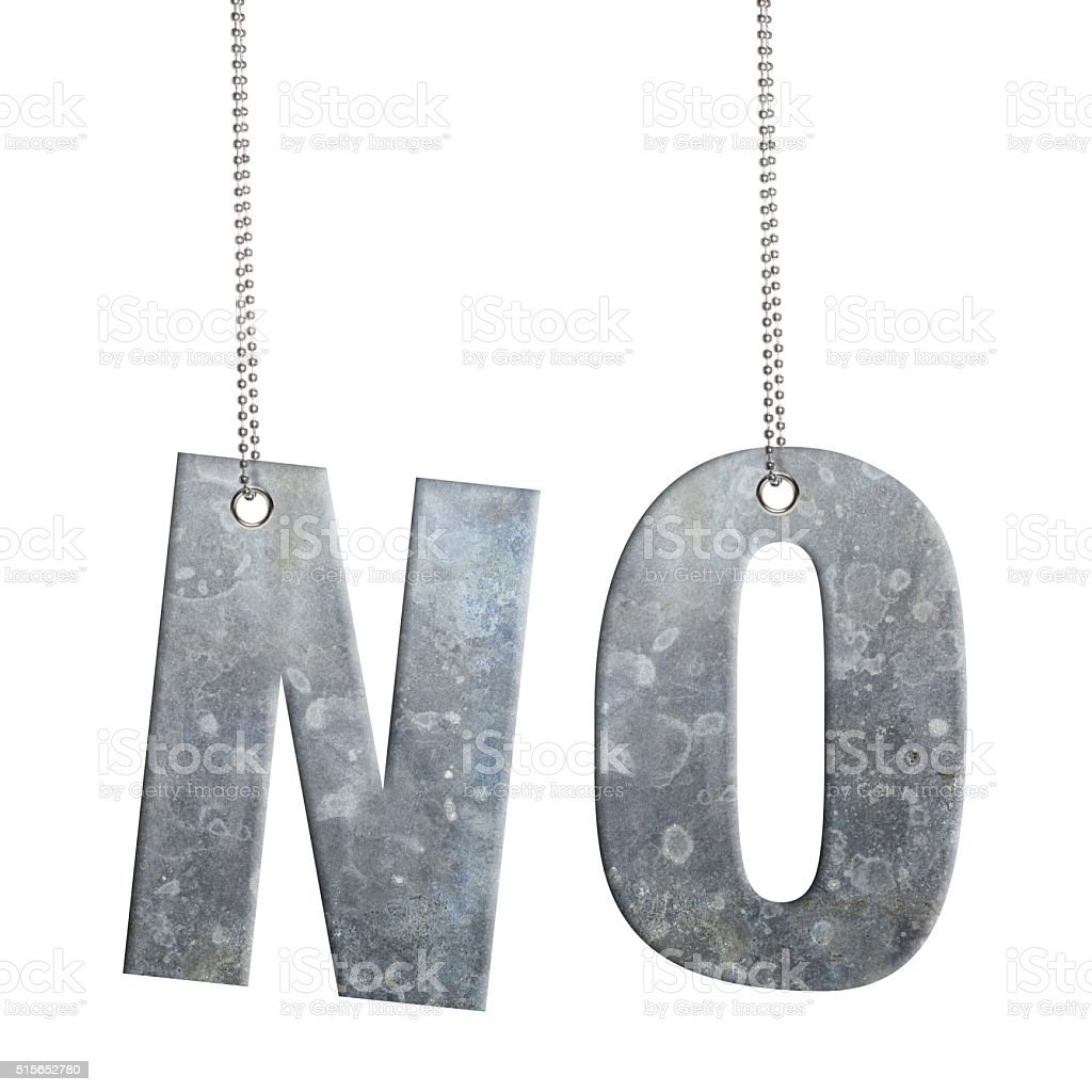 NO - Hanging Iron word (Clipping Path) stock photo