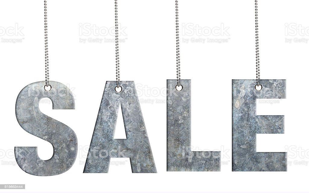SALE - Hanging Iron word (Clipping Path) stock photo