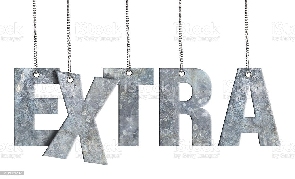 EXTRA - Hanging Iron word (Clipping Path) stock photo