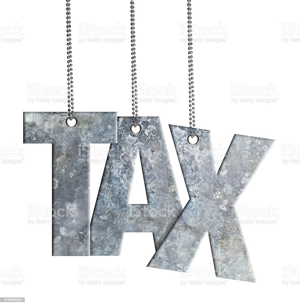 TAX - Hanging Iron word (Clipping Path) stock photo