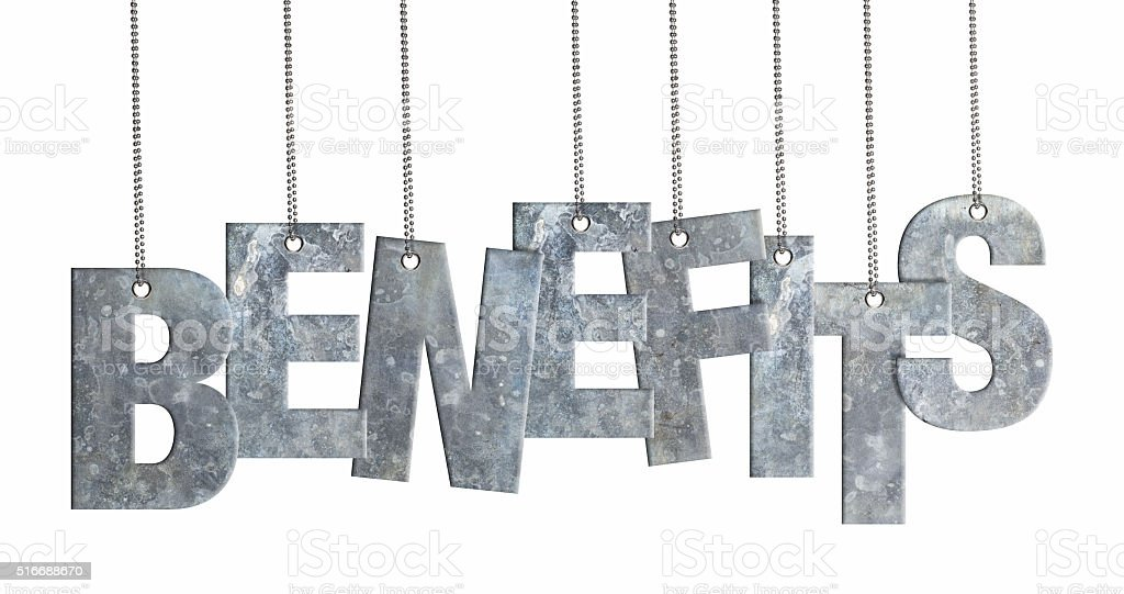 BENEFITS - Hanging Iron word (Clipping Path) stock photo