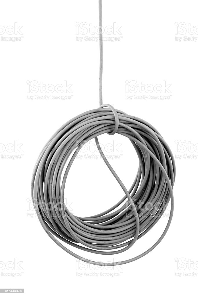 hanging isolated cable coil on building site isolated royalty-free stock photo