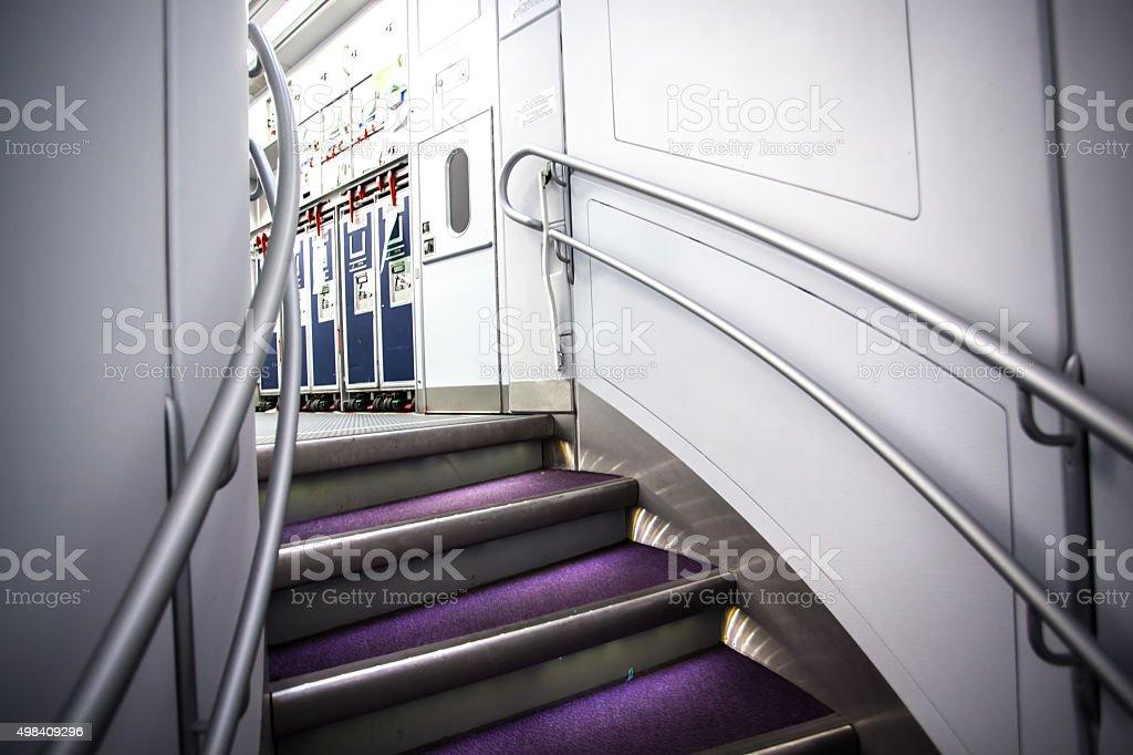 hanging ladder in plane stock photo
