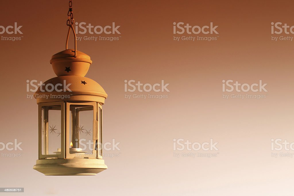 Hanging lamp - sepia stock photo