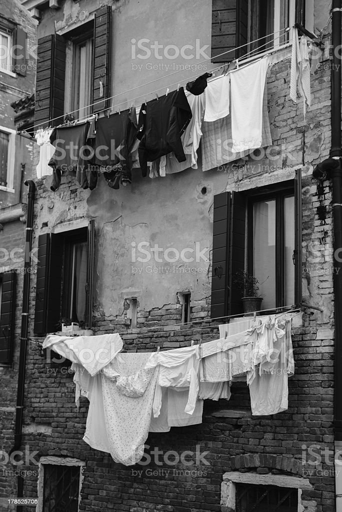 Hanging laundry in Venice royalty-free stock photo