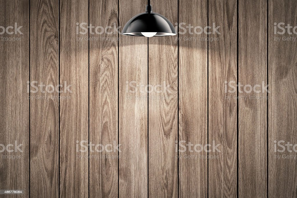 hanging light bulb with timber wall background stock photo