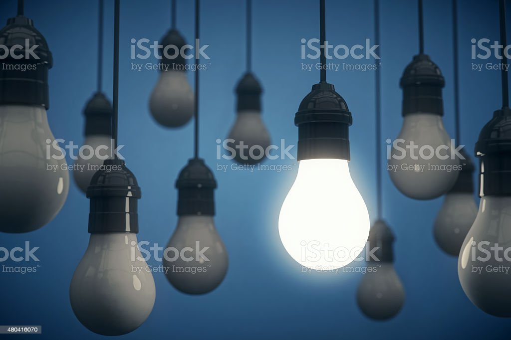 Hanging Light Bulbs stock photo