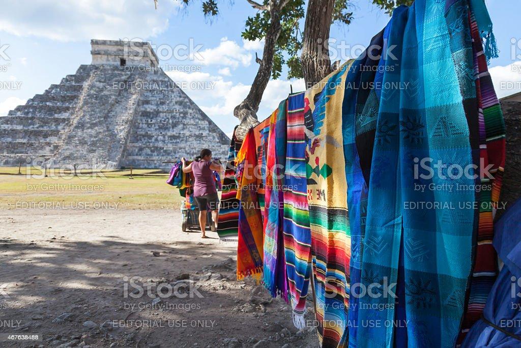 Hanging Mayan Blankets at Chichen Itza stock photo