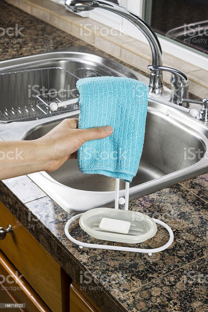 Hanging Microfiber Dish Towel for Drying royalty-free stock photo
