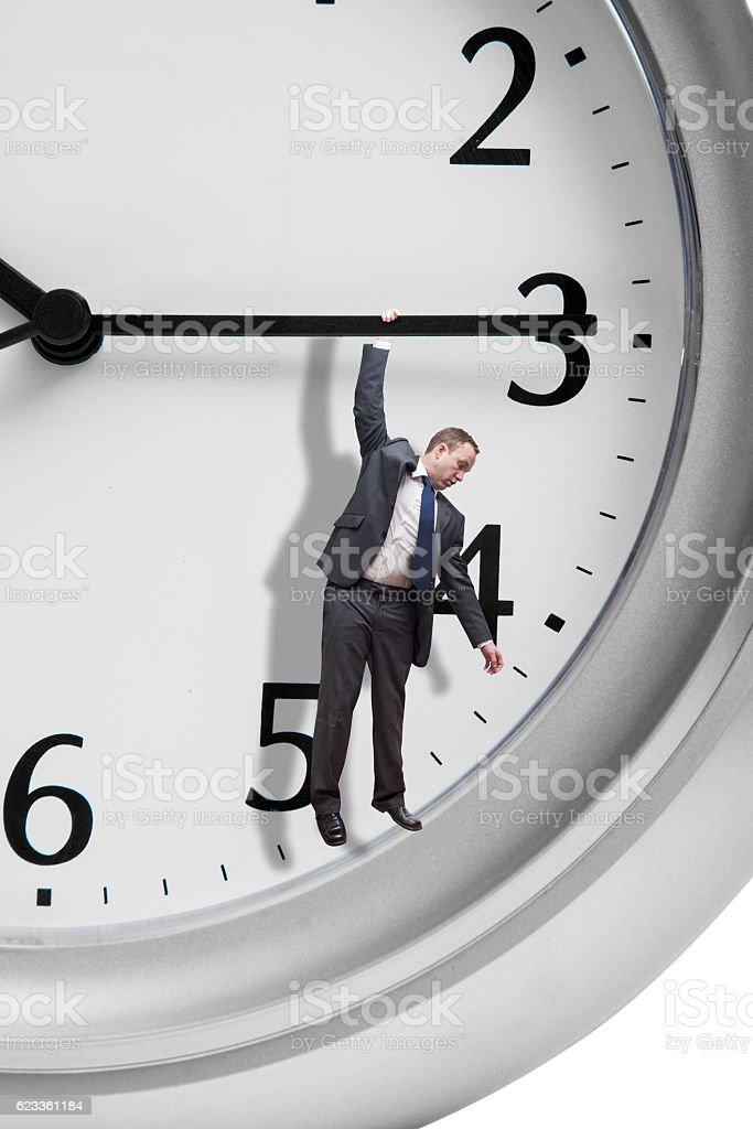 Hanging on time stock photo