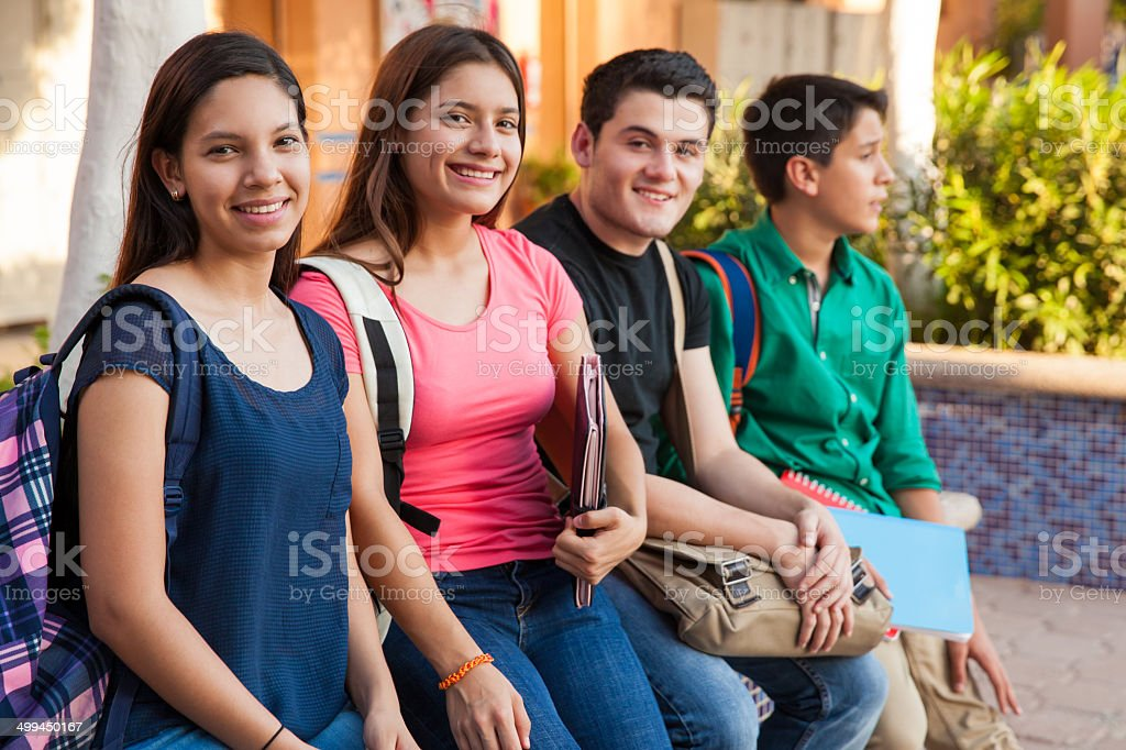 Hanging out at school stock photo