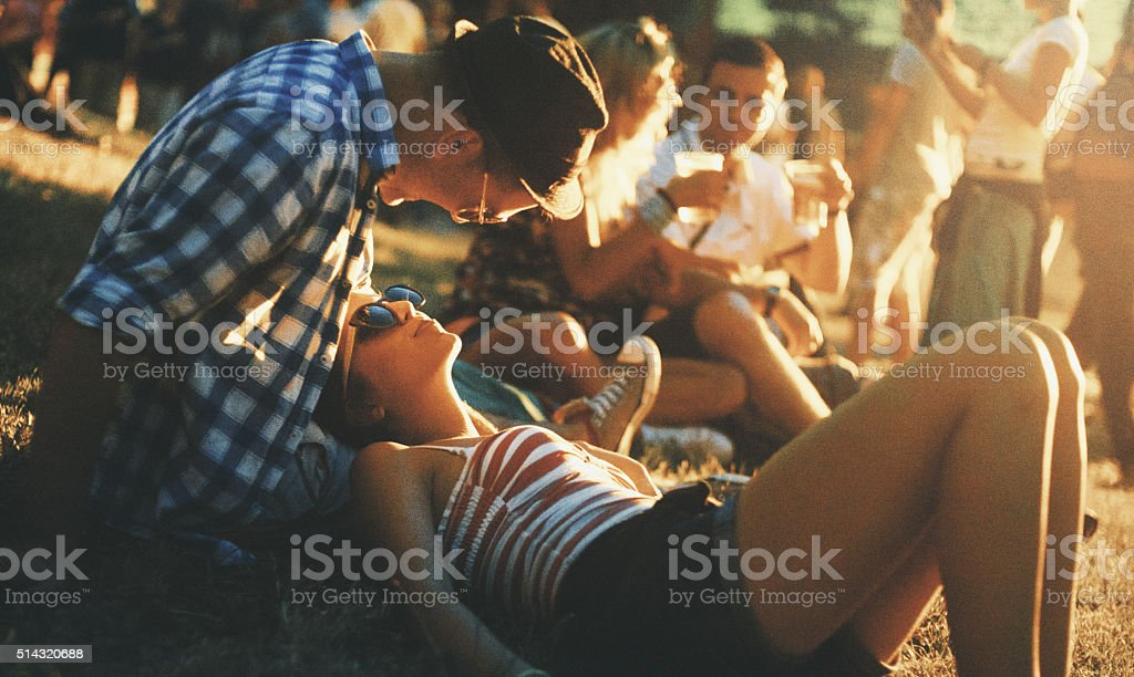 Hanging out before the concert. stock photo
