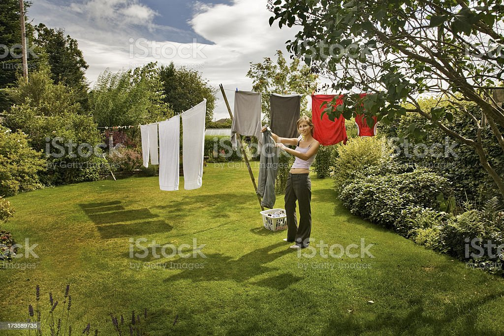 Hanging out the Washing-Alternative view below stock photo