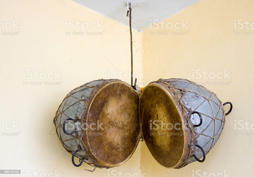 Hanging Pair of Indian Drums stock photo