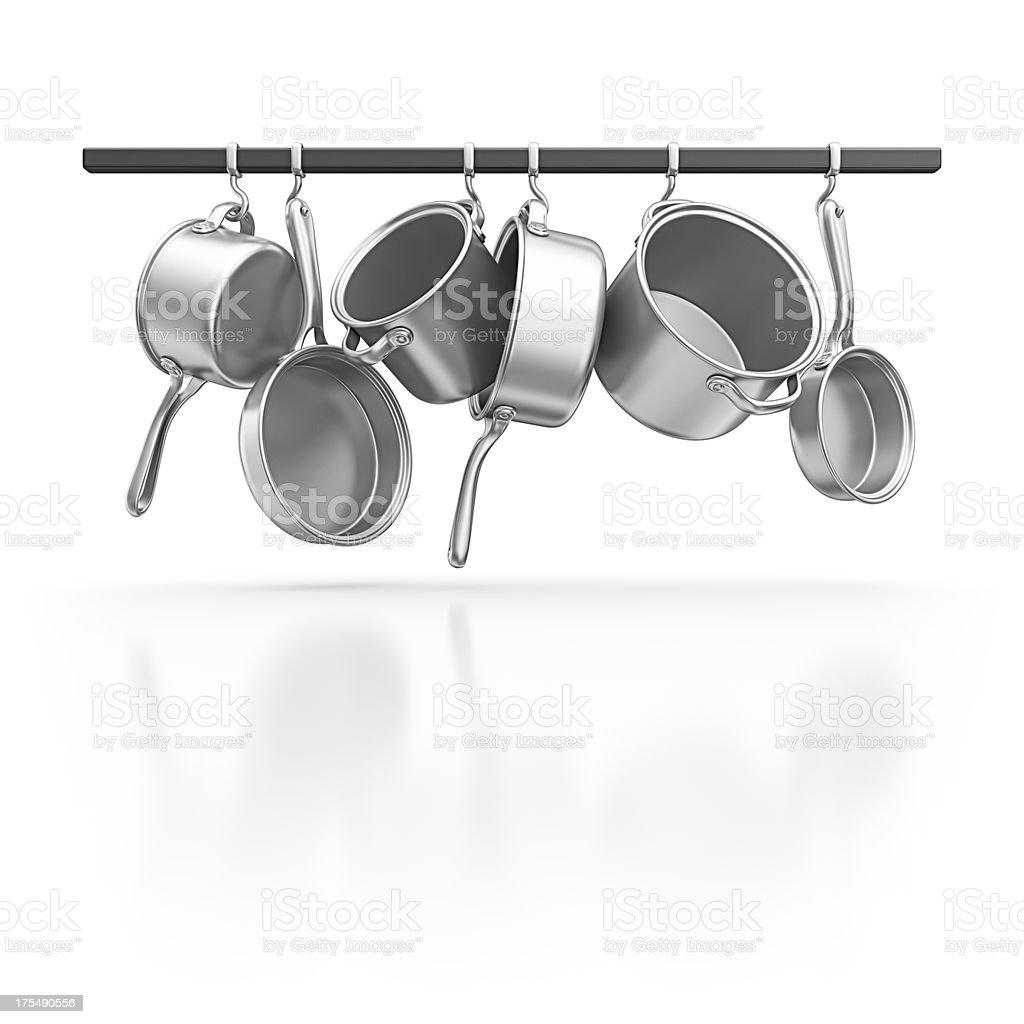 hanging pans stock photo