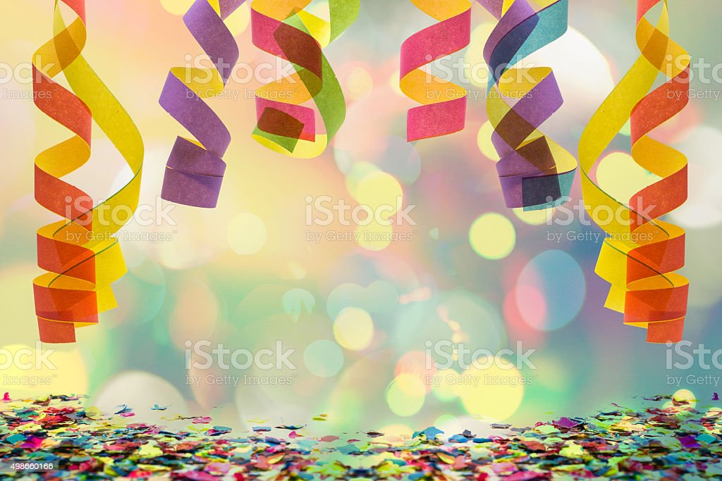 hanging paper streamer and confetti vector art illustration