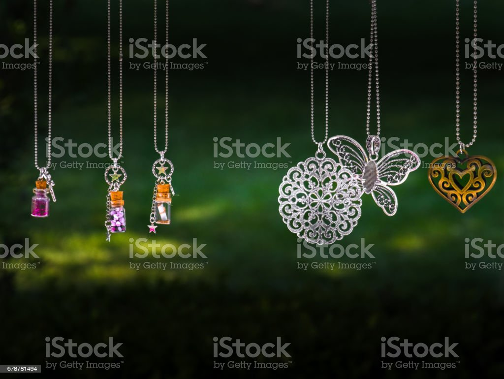 hanging pendant necklace stock photo