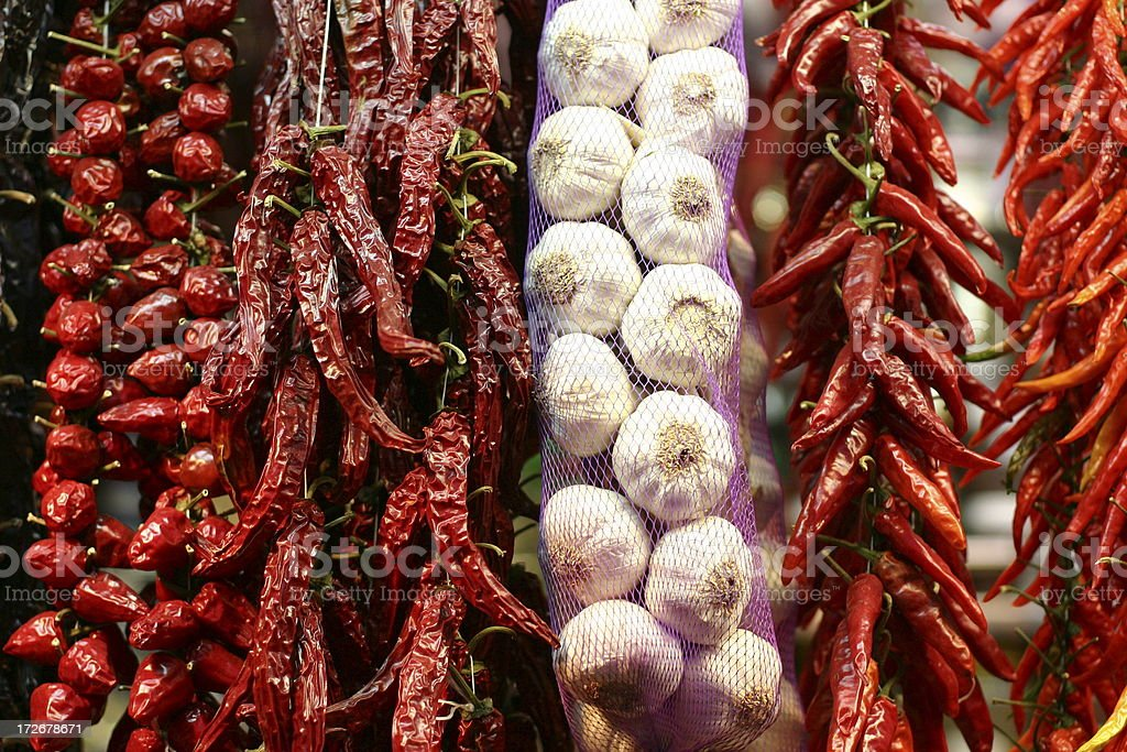 hanging pepper and garlic royalty-free stock photo