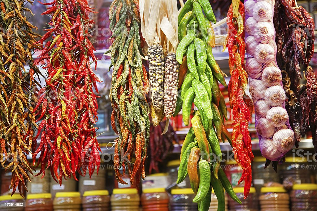 hanging pepper and garlic stock photo
