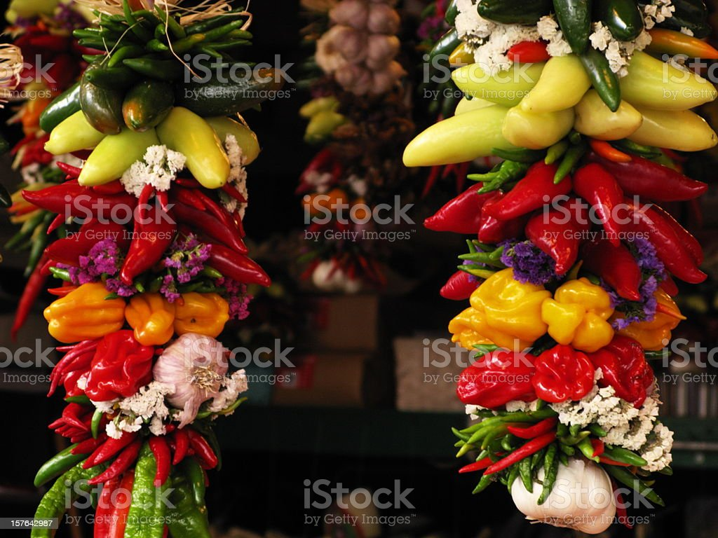 Hanging Peppers Vegetables royalty-free stock photo