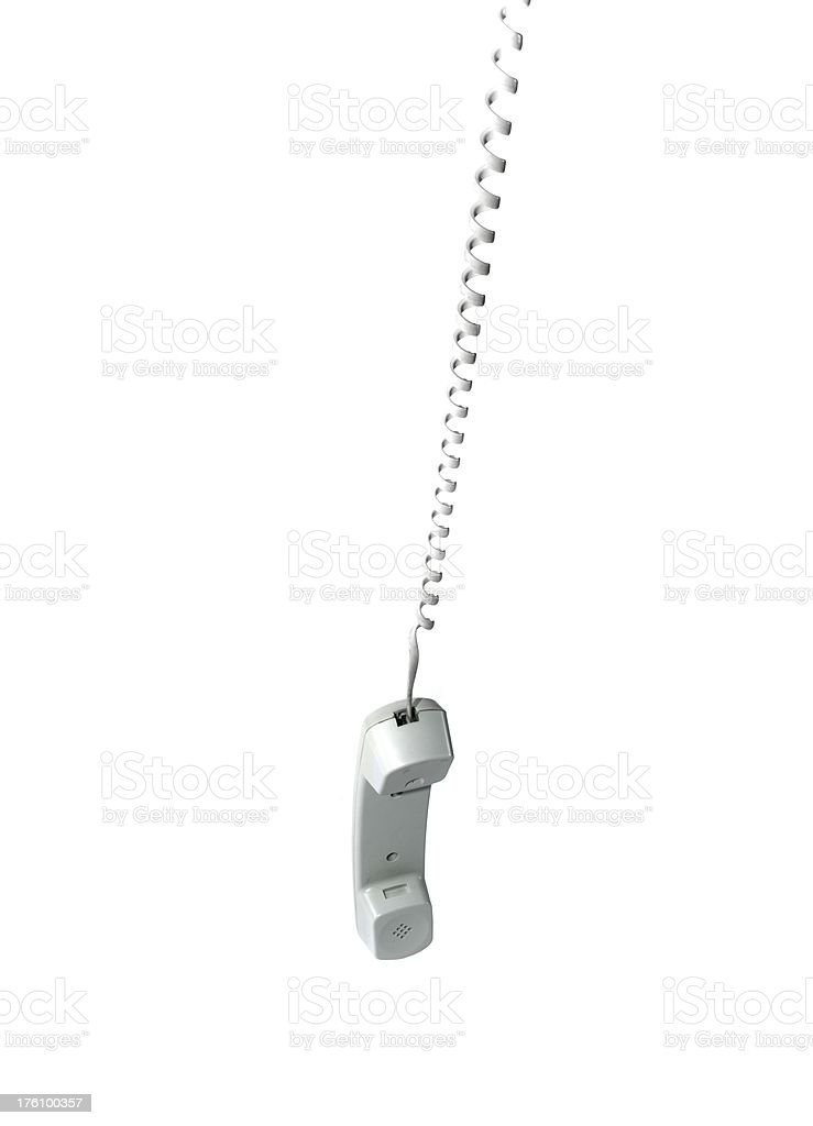 hanging phone, isolated royalty-free stock photo