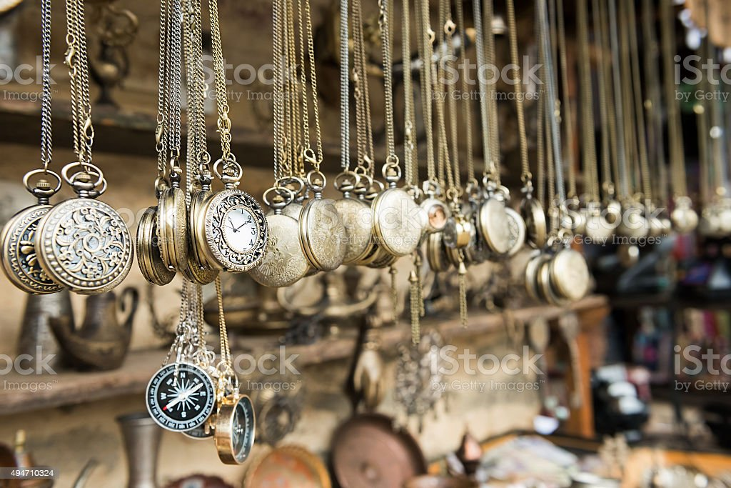 Hanging pocket watches stock photo