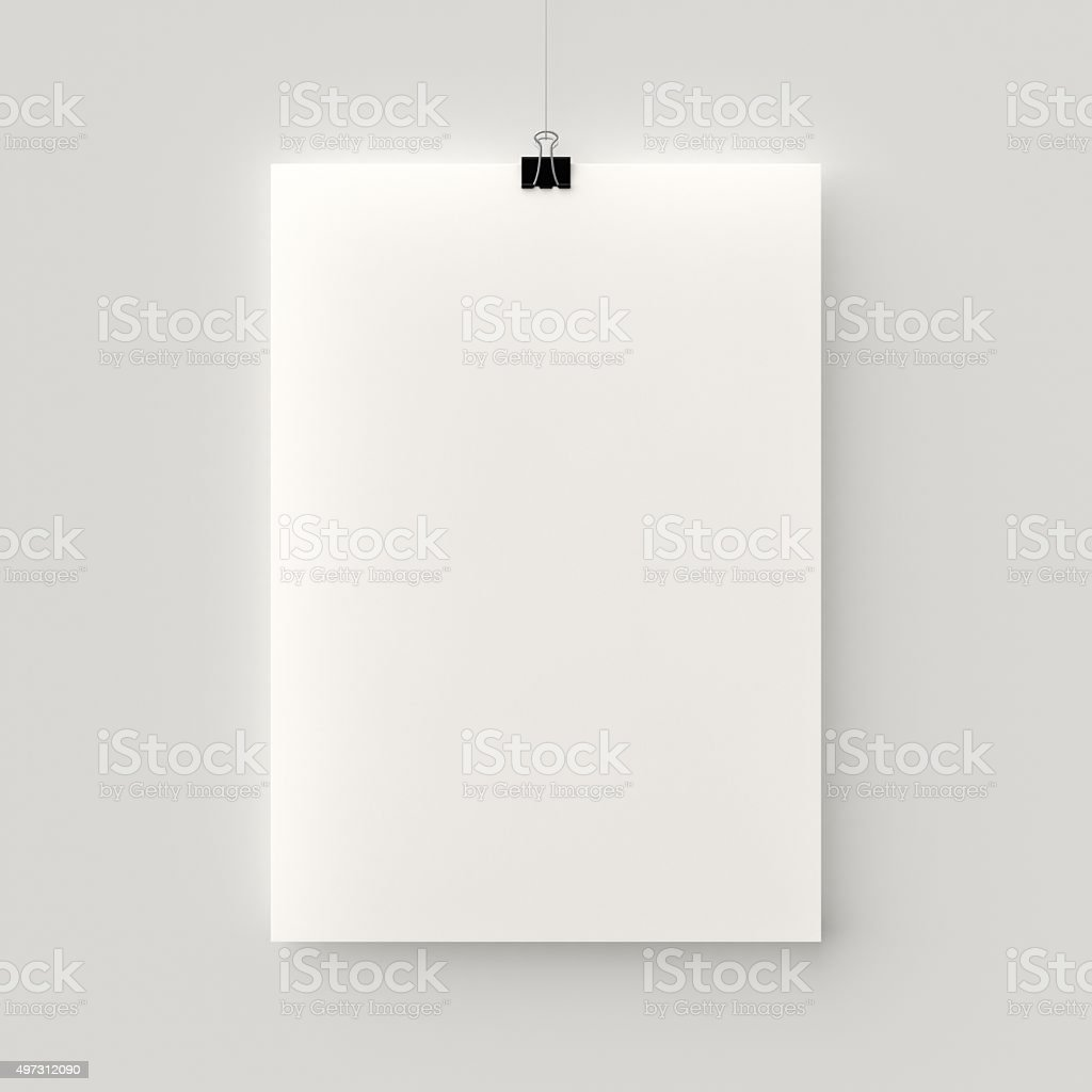 Hanging poster stock photo