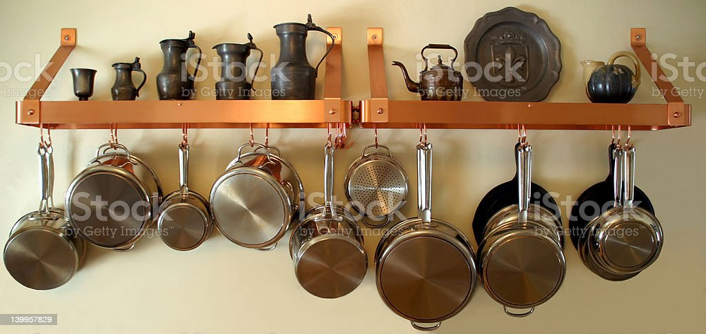 Hanging Pots and Pans 3 royalty-free stock photo