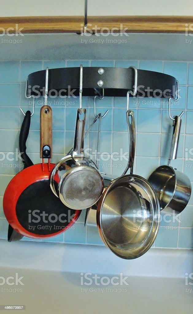 Hanging Pots and Pans Rack stock photo