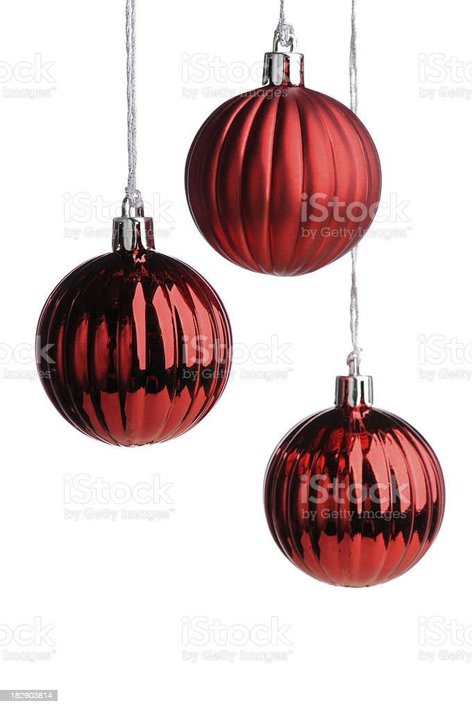 Hanging red baubles royalty-free stock photo