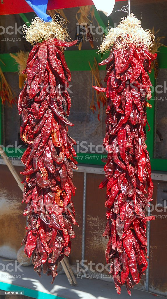 Hanging red chili peppers royalty-free stock photo