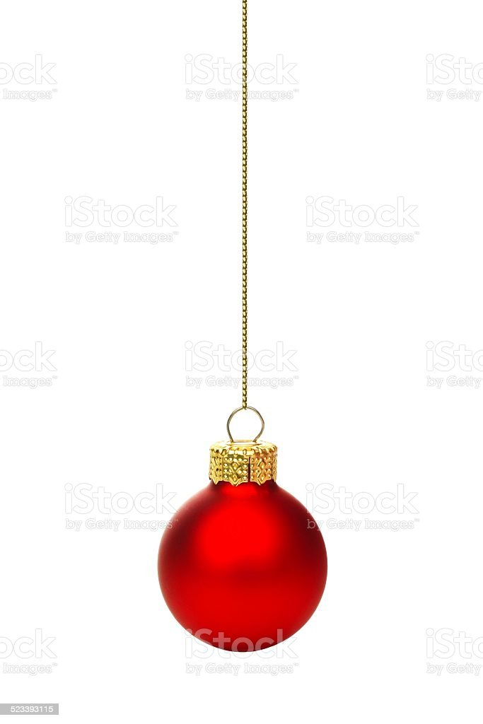Hanging red Christmas ornament isolated stock photo