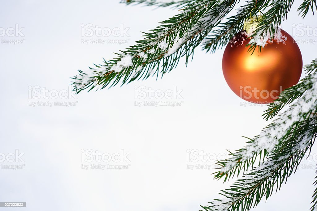 Hanging Red Christmast ball for card stock photo