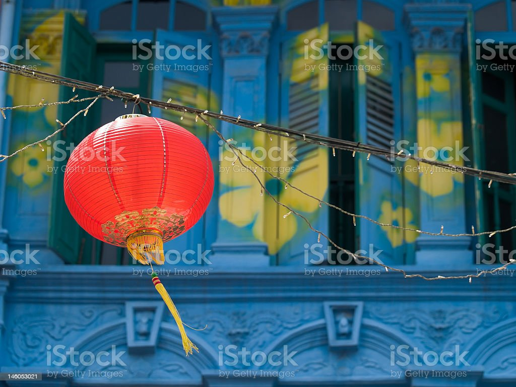 Hanging Red Lantern over Street in Chinatown stock photo