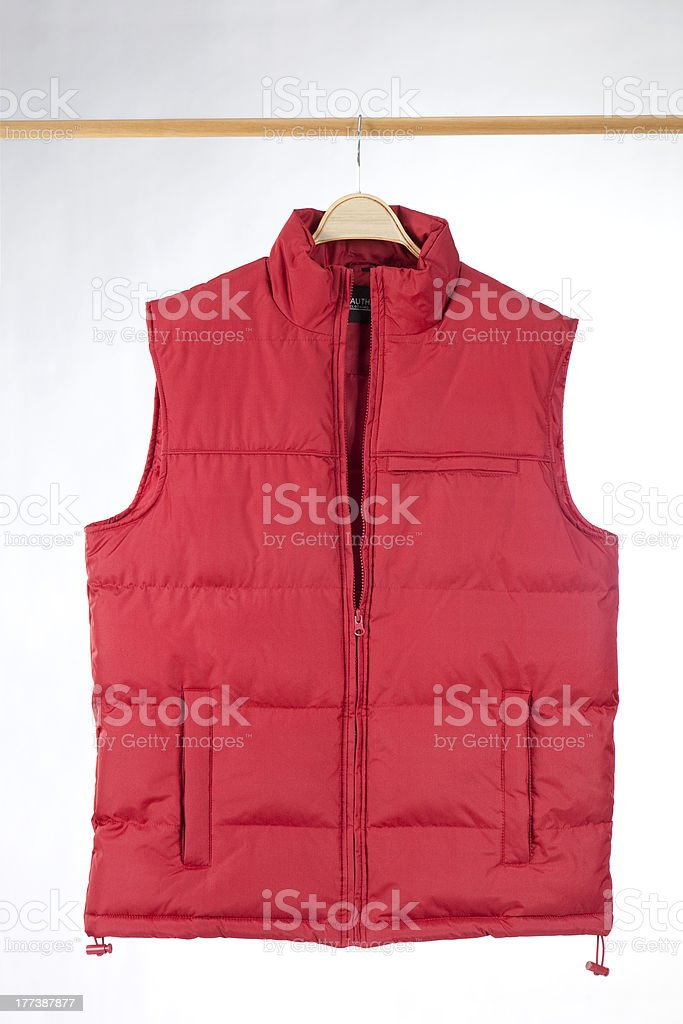 Hanging red vest stock photo