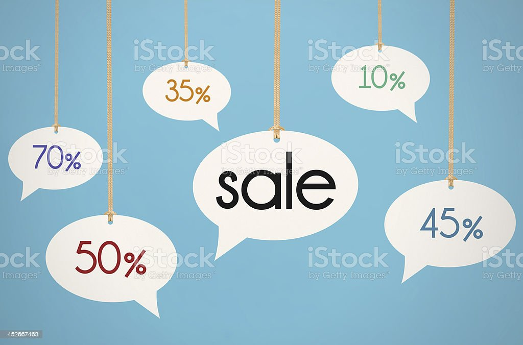 Hanging Sale Speech Bubbles stock photo