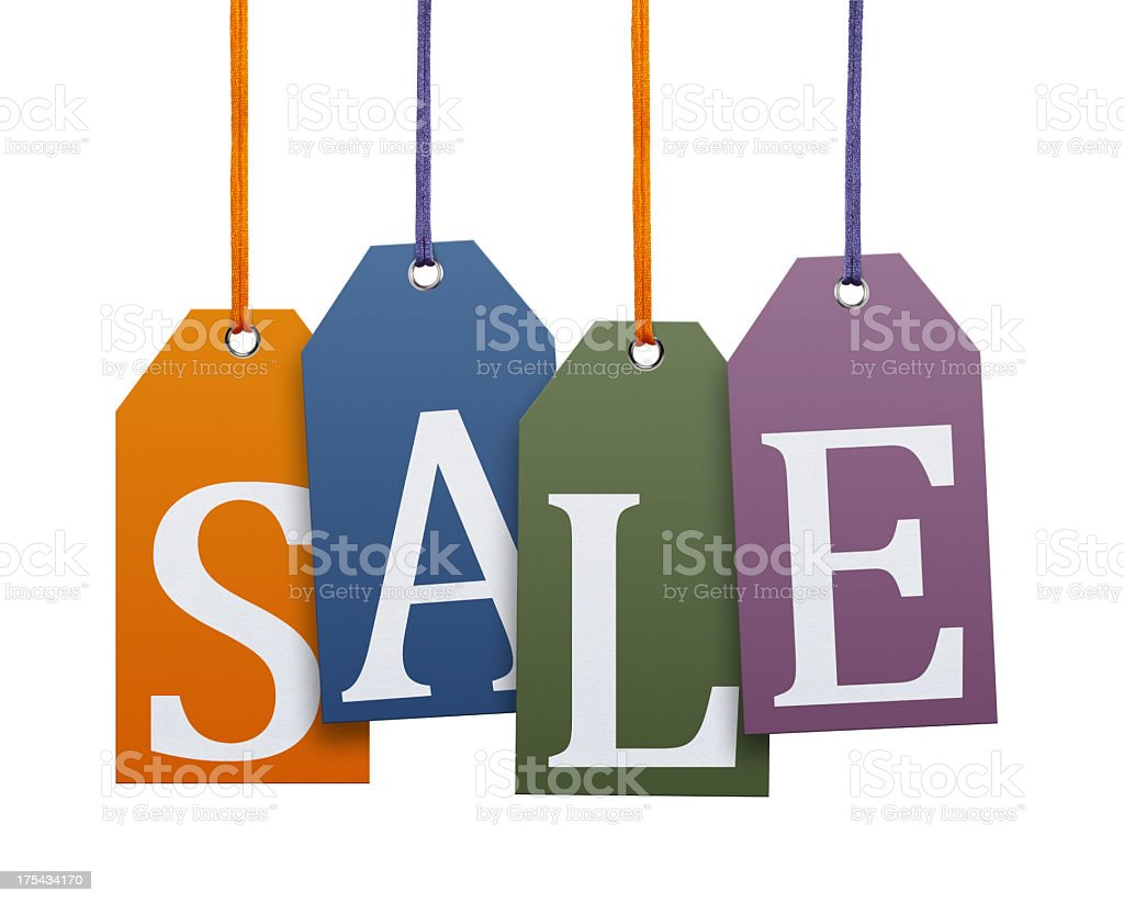 Hanging Sale Tags (Clipping Path) royalty-free stock photo