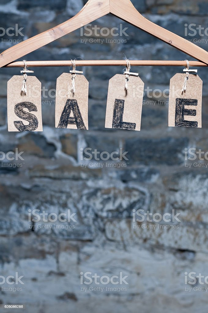Hanging SALE tags stock photo