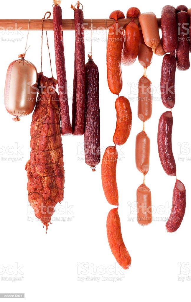 hanging sausage stock photo