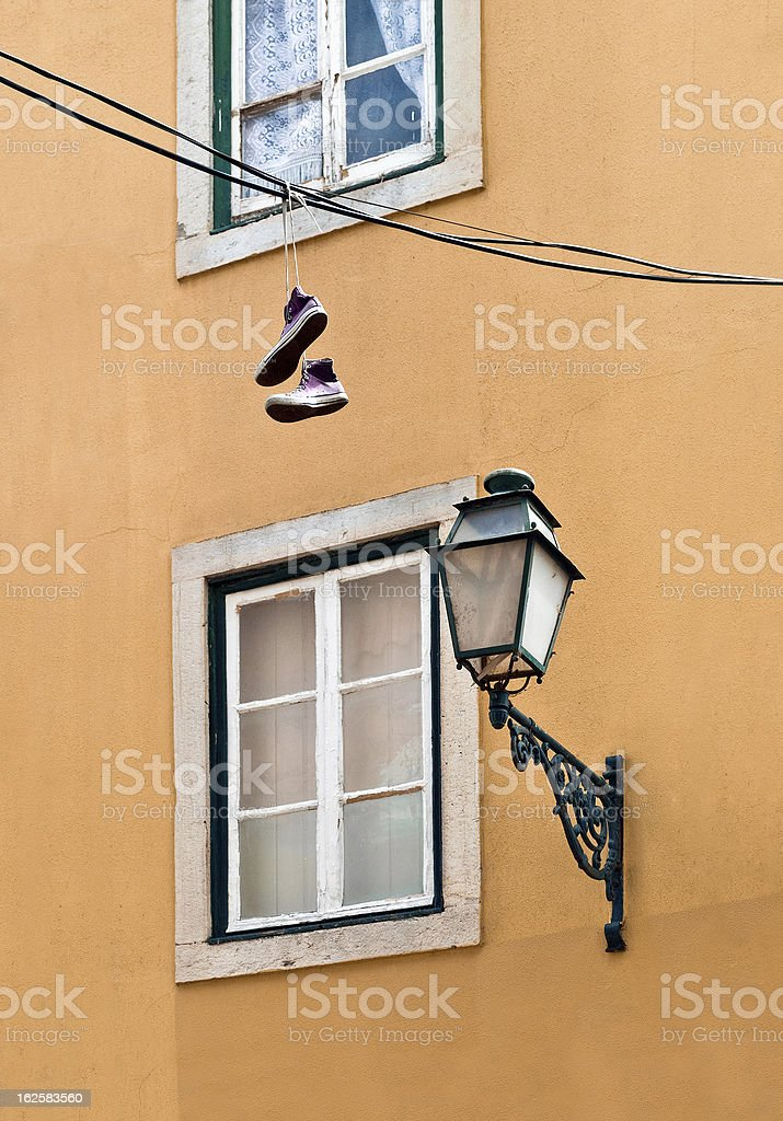 Hanging Sneakers in Lisbon stock photo
