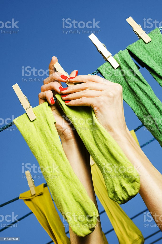 hanging socks royalty-free stock photo