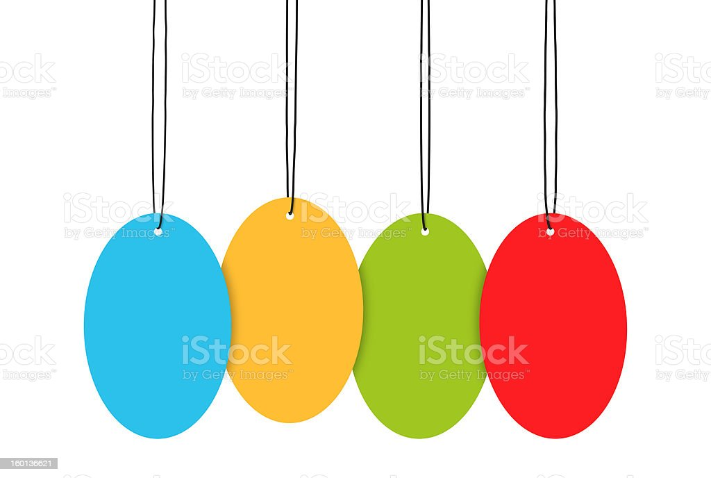 Hanging Tags Isolated On White Background royalty-free stock photo