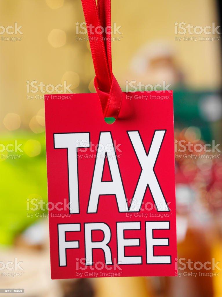 Hanging Tax Free Label royalty-free stock photo