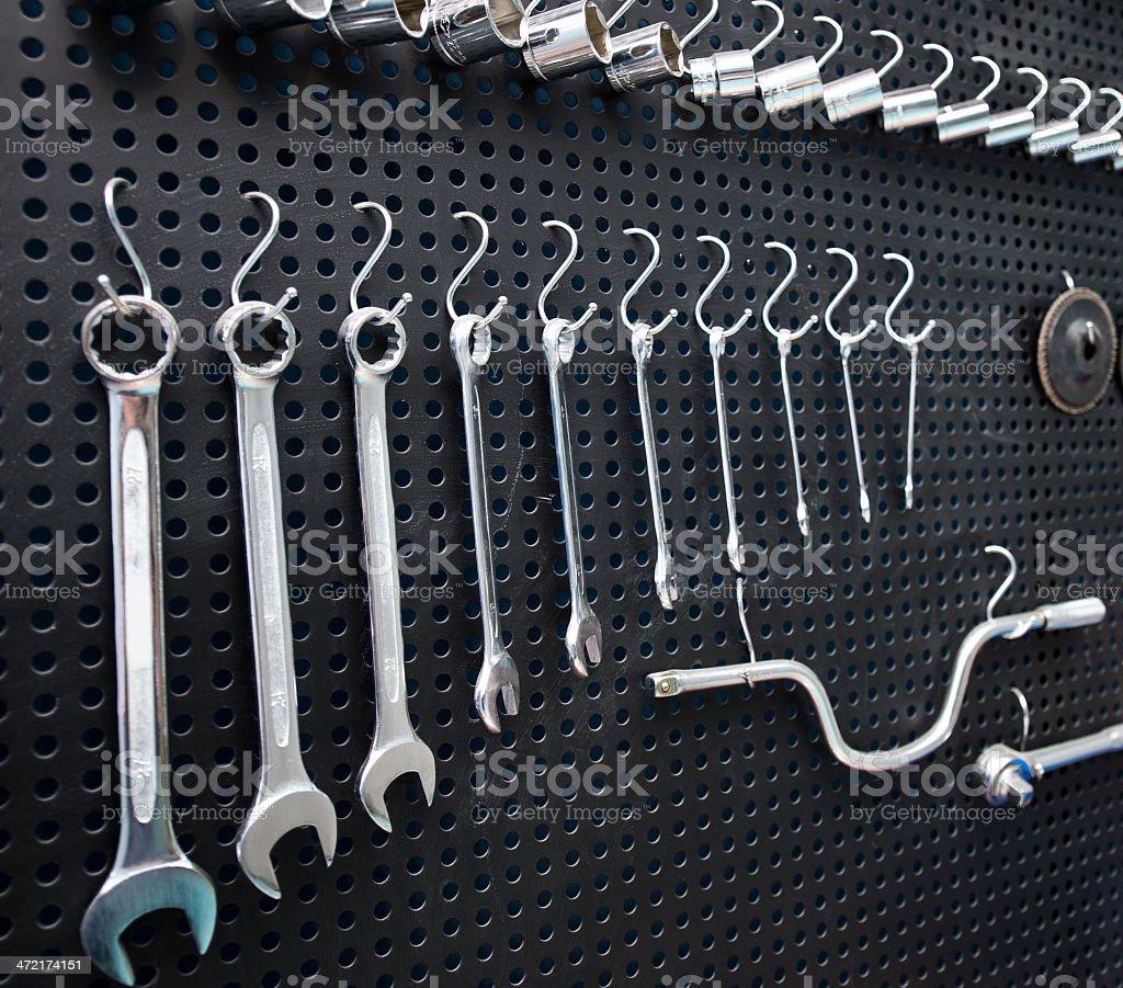 Hanging tools stock photo