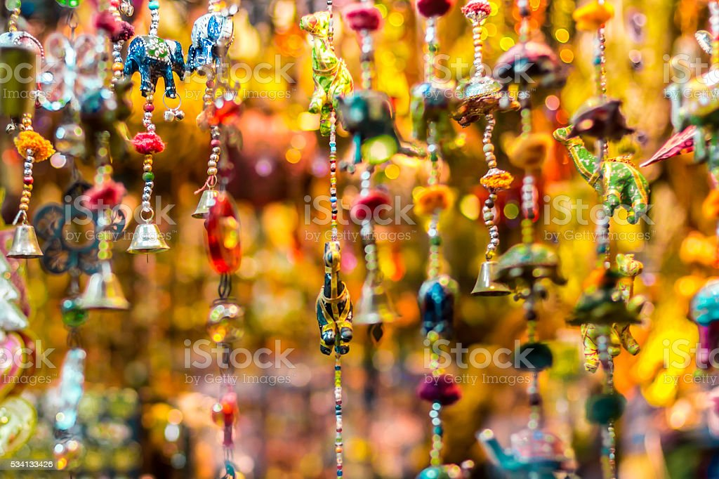 Hanging toys in arabic souvenirs shop stock photo