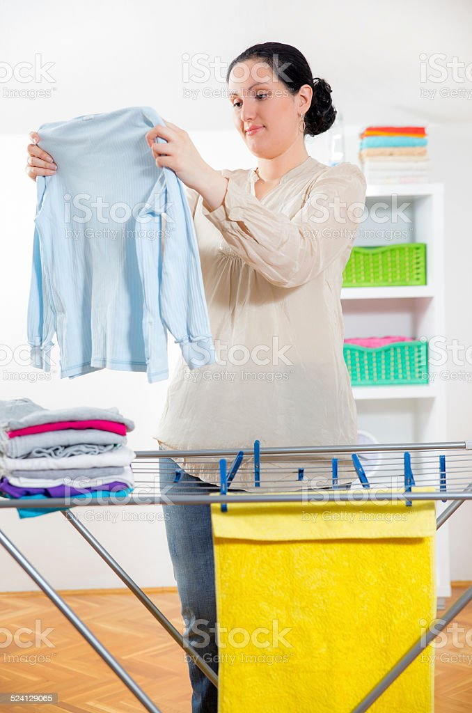 Hanging Up Laundry to Dry stock photo