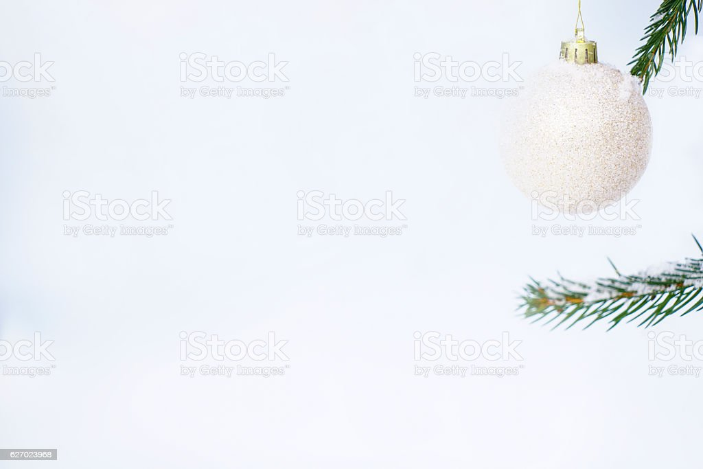 Hanging White Christmast ball for card stock photo