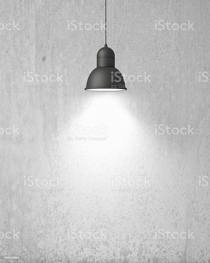 hanging white lamp with shadow on old vintage painted wall stock photo