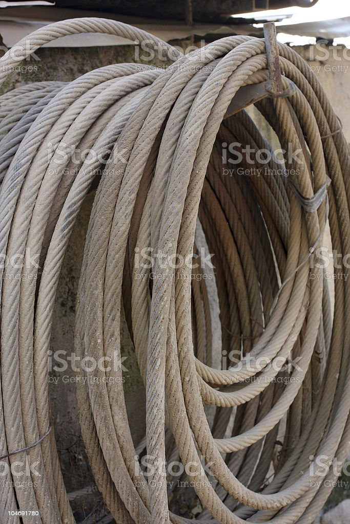 Hanging wire rope stock photo