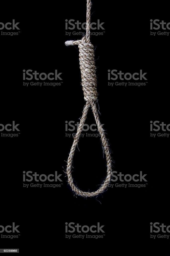 Hangman's Noose on Black Blackground stock photo